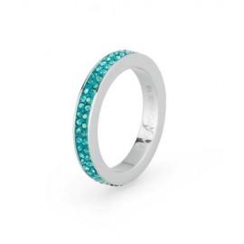 Anello Crystal Ring mis. 14 acciaio pasta e pietre acquamarina