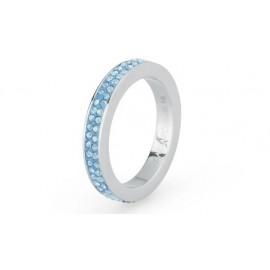 Anello Crystal ring mis. 12 acciaio pasta e pietre zaffiro