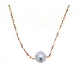 Collana in acciaio ramato e perla zable da donna