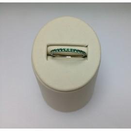 Anello Veretta in oro bianco 750% e zirconi verdi