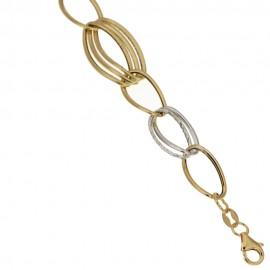 Bracciale in oro giallo e bianco 18kt - 750% a maglia vuota donna
