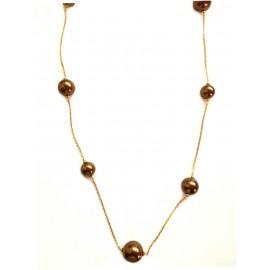 Collana in argento 925% placcata oro giallo 18Kt con perle chocolate