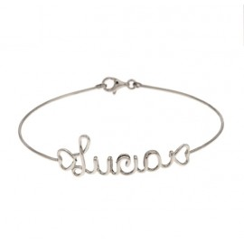 White gold 18Carat bracelet, shiny with name LUCIA