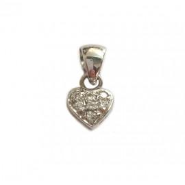 Pendente cuore in oro bianco 18Ct 750% con 7 diamanti Ct 0.27