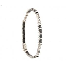 Bracciale in oro bianco 18kt - 750% con diamanti e zirconi neri cm20