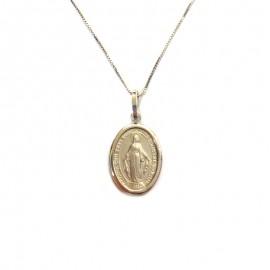Collana in oro bianco 18Kt 750% con madonna immacolata concezione