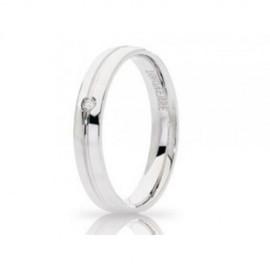 Coppia di fedi Unoaerre mod. Lyra in oro bianco 750% con diamanti Kt 0.02
