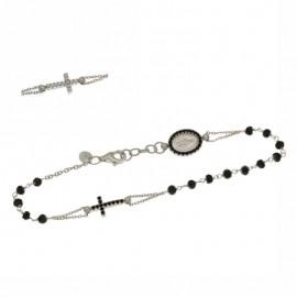 Bracciale rosario in oro bianco 18kt 750% con pietre nere
