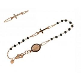 Bracciale rosario in oro rosa 18Ct 750% con pietre bianche e nere