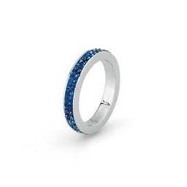 Anello Crystal ring mis. 16 acciaio pasta e zircone blu