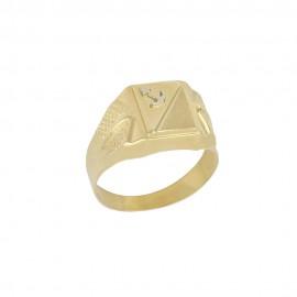 Anello in oro giallo 18 Kt 750/1000 a scudo con ancora in rilievo da uomo