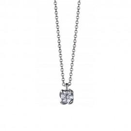 Collana punto luce in oro bianco 18k con diamante 0.30 ct