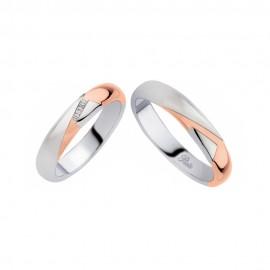 Coppia di fedi matrimoniali in oro 18 Kt con diamanti Polello