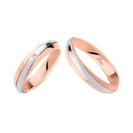 Coppia di fedi matrimoniali in oro 18 Kt con diamante Polello