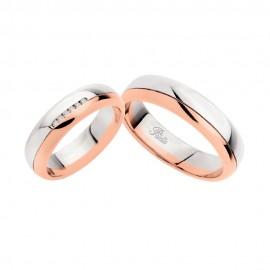 Coppia di fedi matrimoniali in oro 18 Kt con diamante Polello 2141DBR-UBR