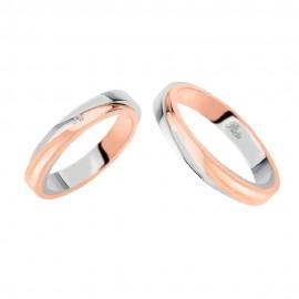 Coppia di fedi matrimoniali in oro 18 Kt con diamante Polello 2251DBR-UBR