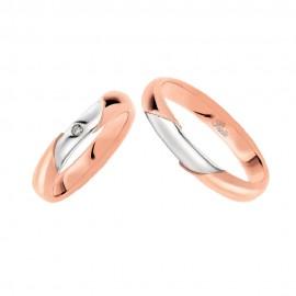 Coppia di fedi matrimoniali in oro 18 Kt con diamante Polello 2321DBR-UBR