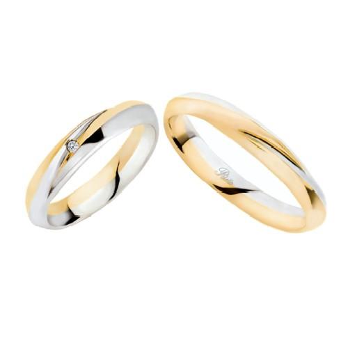 Coppia di fedi matrimoniali in oro 18 Kt con diamante Polello 2325DBG-UBG