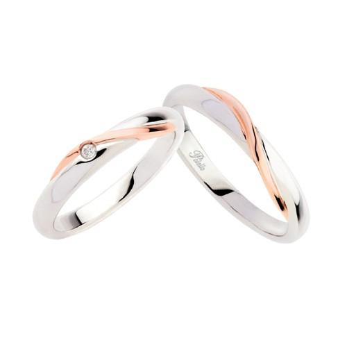 Coppia di fedi matrimoniali in oro 18 Kt con diamante Polello 2331DBR-UBR