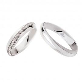 Coppia di fedi matrimoniali in oro 18 Kt con diamanti Polello 2546DB-UB
