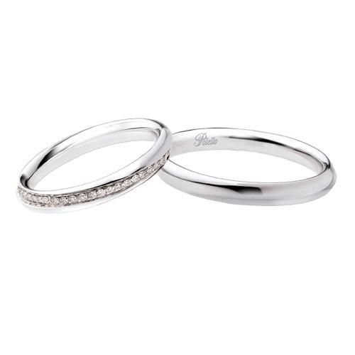 Coppia di fedi matrimoniali in oro 18 Kt con diamanti Polello 2615DB-UB