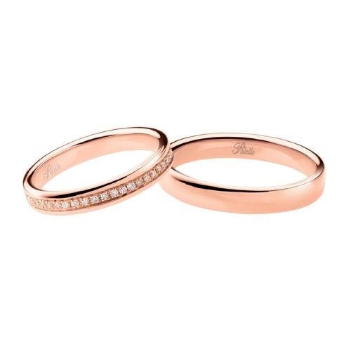 Coppia di fedi matrimoniali in oro rosa 18 Kt con diamanti Polello