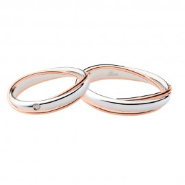 18K White and rose gold with diamond wedding rings Polello 2692DBR-UBR