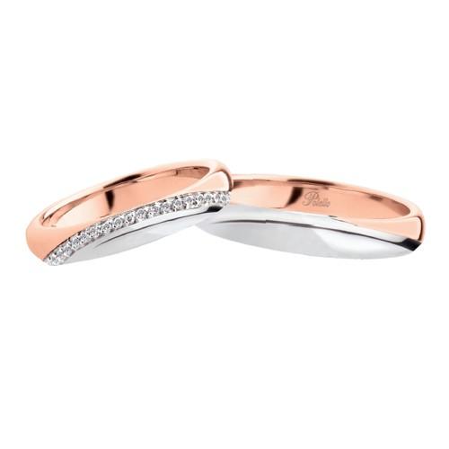 Coppia di fedi matrimoniali in oro bianco e rosa 18 Kt con diamanti Polello