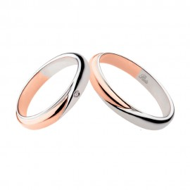 18K White and rose gold with diamond wedding rings Polello 2700DBR-UBR