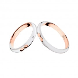 18K White and rose gold with diamond wedding rings Polello 2710DBR-UBR