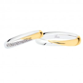 Coppia di fedi matrimoniali in oro bianco e giallo 18 Kt con diamanti Polello 2839DBG-UBG