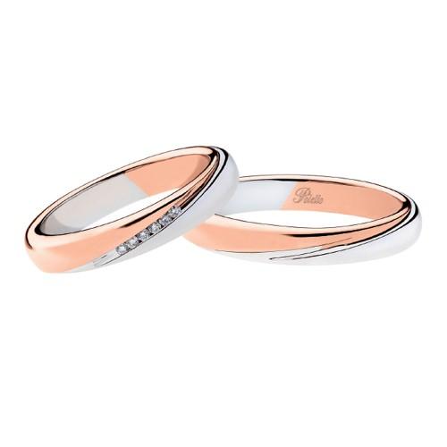 Coppia di fedi matrimoniali in oro bianco e rosa 18 Kt con diamanti