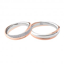 18K White and rose gold with diamonds wedding rings Polello 2890DBR-UBR