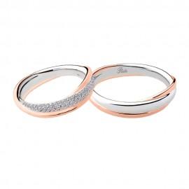 Fedi in oro bianco e rosa 18 Kt con diamanti 2890DBR-UBR