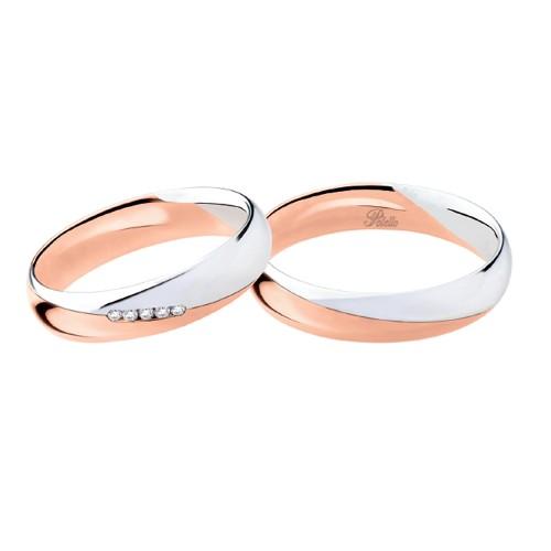 Coppia di fedi matrimoniali in oro bianco e rosa 18 Kt con diamanti 2893DBR-UBR