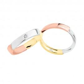 18K White, yellow and rose gold with diamond wedding rings 2982DBGR-UBGR