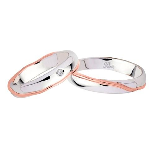Coppia di fedi matrimoniali in oro bianco e rosa 18 Kt con diamante 2984DBR-UBR