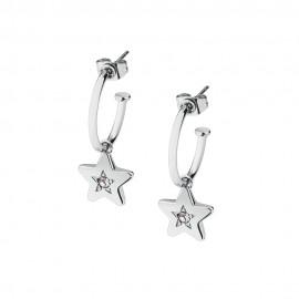 Stainless steel, S'agapõ Hoops Earrings with Dangling Stars