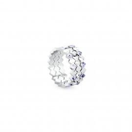 Anelli VICTORIA acciaio con 3 anelli cristalli tanzanite violet mis. 16