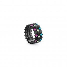 anelli VICTORIA acciaio con 3 anelli pvd nero e cristalli mis. 14