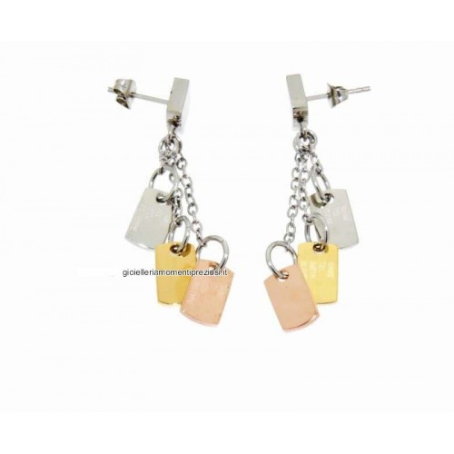 Stainless steel, gold 18Kt plated earrings Zable ledies