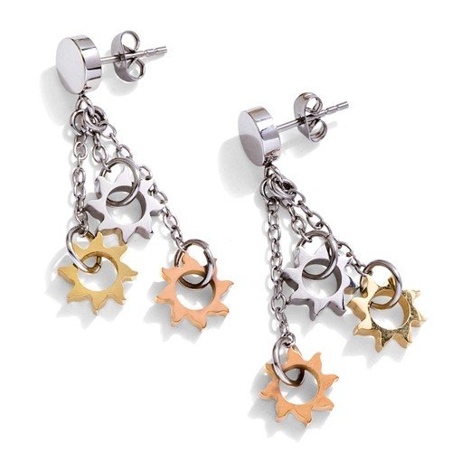 Stainless steel, gold 18Kt plated earrings Zable R7035