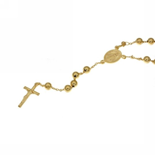 Yellow gold 18k 750/1000 with shiny spheres Rosary necklace