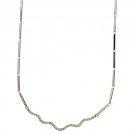 White gold 18Kt 750/1000 with white cubic zirconia woman necklace