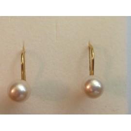 Orecchini in oro giallo 18Kt - 750% con perle coltivate in acqua dolce