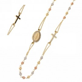 White rose and yellow gold 18k 750/1000 with white and black cubic zirconia rosary necklace