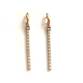 Orecchini lunghi in oro bianco e rosa 18Kt - 750% con zirconi