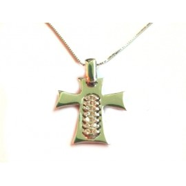 White gold 18k 750/1000 with pendant cross and white cubic zirconia necklace