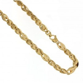 Yellow gold 18kt 750/1000 link chain shiny man necklace