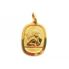 Pendente in oro giallo 18Kt 750/1000 con angelo lucido e martellato